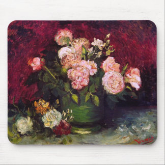 Bowl with Peonies & Roses Van Gogh Fine Art Mouse Pad