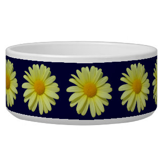 Bowl - Yellow Daisy on Midnight Sky Pet Water Bowls