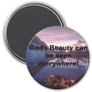Bowlake2, God's Beauty can be seen everywhere! 3 Inch Round Magnet