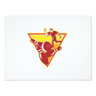 Bowler Bowling Ball Pins Retro 6.5x8.75 Paper Invitation Card