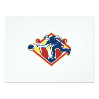 Bowler Bowling Ball Pins Side Retro 6.5x8.75 Paper Invitation Card