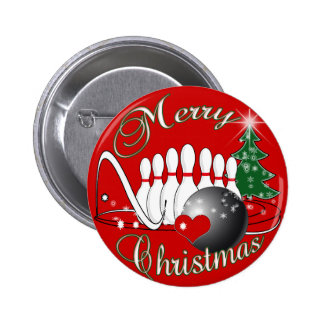 BOWLER / BOWLING MERRY CHRISTMAS 2 INCH ROUND BUTTON