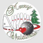 BOWLER / BOWLING MERRY CHRISTMAS CLASSIC ROUND STICKER