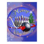 BOWLER / BOWLING MERRY CHRISTMAS POSTCARD