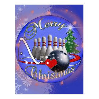 BOWLER / BOWLING MERRY CHRISTMAS POST CARD