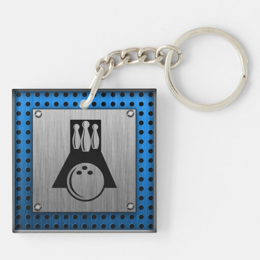 Bowler; Brushed metal-look Square Acrylic Keychains