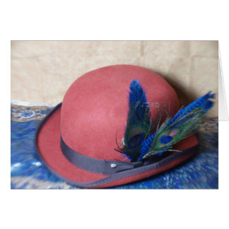 Bowler Hat with Peacock Feather Card