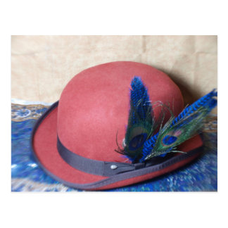 Bowler Hat with Peacock Feather Post Cards