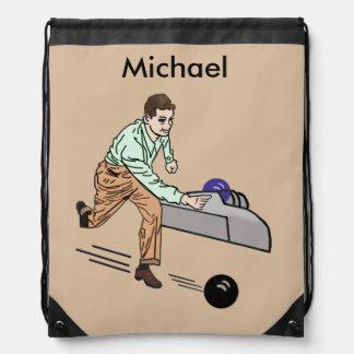 Bowler in Brown and Green, Customizable Drawstring Bag