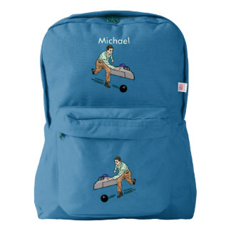 Bowler in Brown and Green, Customizable Name Backpack
