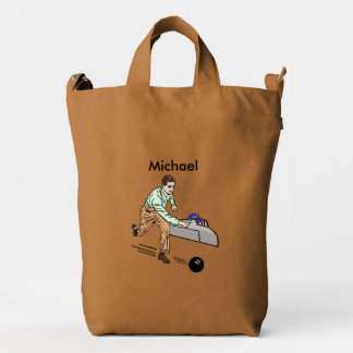 Bowler in Brown and Green, Customizable Name Duck Bag