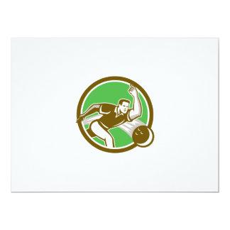 Bowler Throwing Bowling Ball Circle Retro 6.5x8.75 Paper Invitation Card