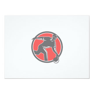Bowler With Bowling Ball Circle Retro 6.5x8.75 Paper Invitation Card