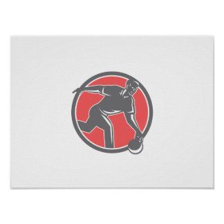 Bowler With Bowling Ball Circle Retro Posters