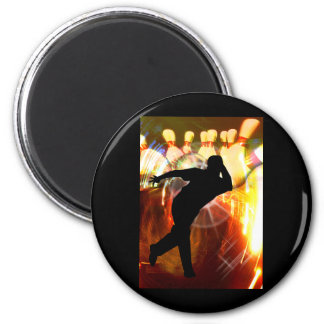 Bowler with Strike Explosion 2 Inch Round Magnet