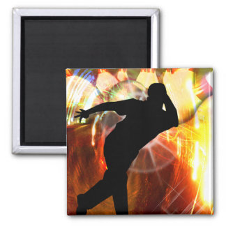 Bowler with Strike Explosion 2 Inch Square Magnet
