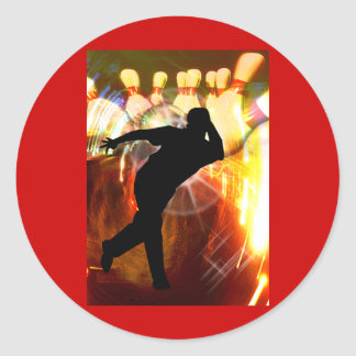 Bowler with Strike Explosion Classic Round Sticker