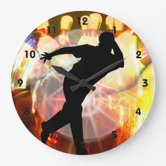 Bowler with Strike Explosion Large Clock