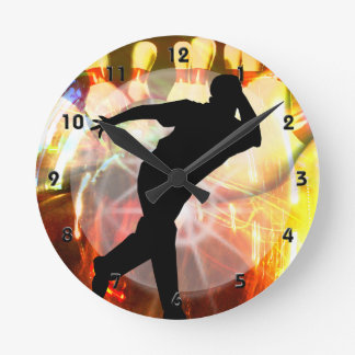 Bowler with Strike Explosion Round Clock
