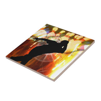 Bowler with Strike Explosion Small Square Tile