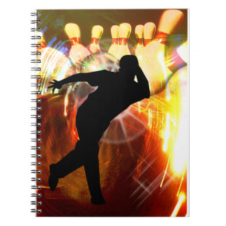 Bowler with Strike Explosion Spiral Note Book