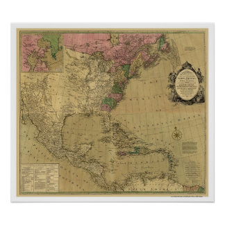 Bowles Detailed America Map - 1784 Print