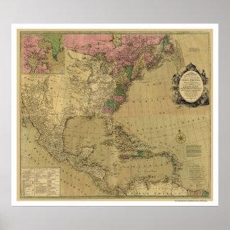 Bowles detalló el mapa de América - 1784 Poster