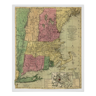 Bowle's Map of New England 1784 Posters
