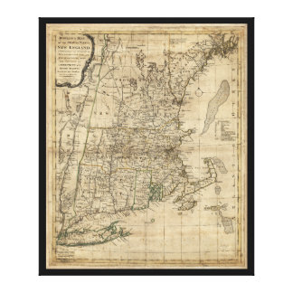 Bowles's Map the Seat of War in New England (1776) Canvas Print