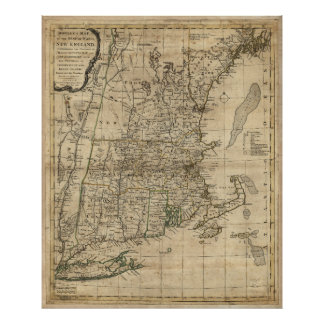 Bowles's Map the Seat of War in New England (1776) Poster