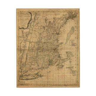 Bowles's Map the Seat of War in New England (1776) Wood Wall Art