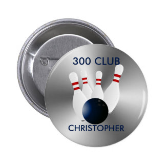 Bowling 300 Club Personalized Button