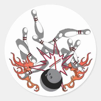Bowling a strike classic round sticker