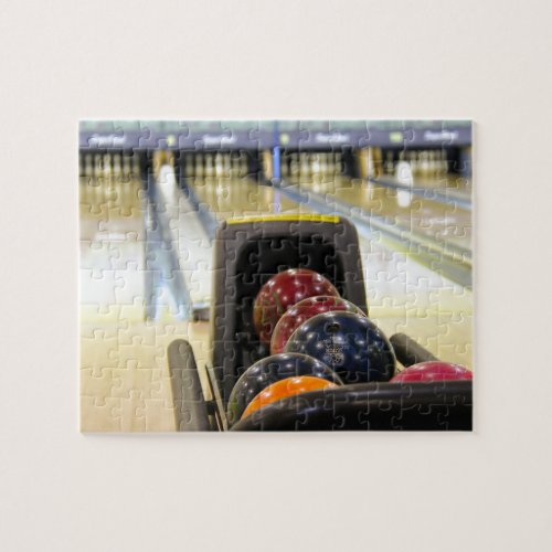Bowling Alley and bowling balls Jigsaw Puzzle