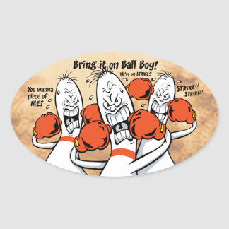 Bowling Alley Boys Oval Sticker