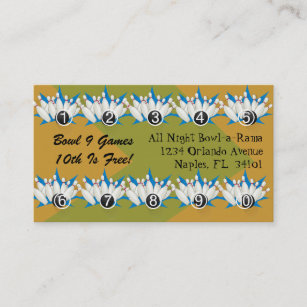 Bowling Alley Loyalty Rewards Business Punch Cards