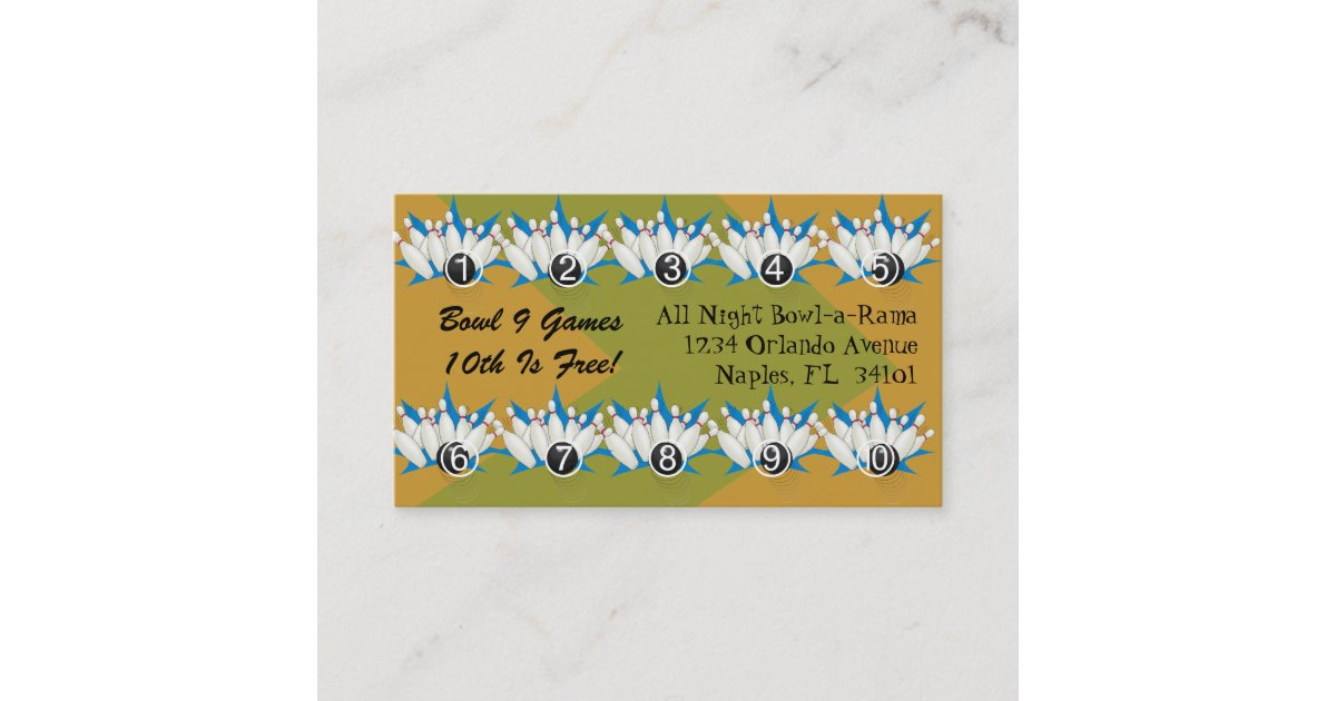 Bowling Alley Loyalty Rewards Business Punch Cards | Zazzle.com