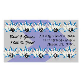 Bowling Alley Loyalty Rewards Business Punch Cards Business Card Template