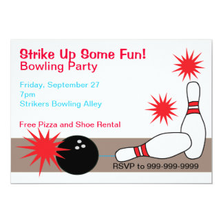Bowling Alley Party Customizable Invitation