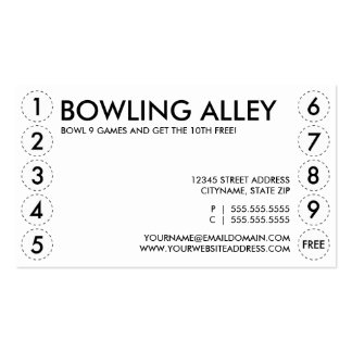 bowling alley punch card Double-Sided standard business cards (Pack of 100)