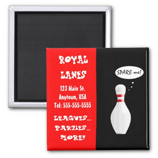 Bowling Alley Talking Pin Funny Business Card 2 Inch Square Magnet