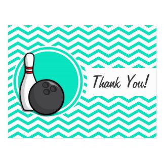 Bowling Aqua Green Chevron Post Card