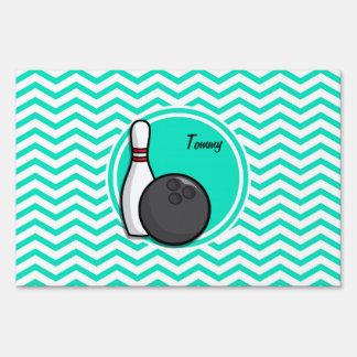 Bowling; Aqua Green Chevron Sign