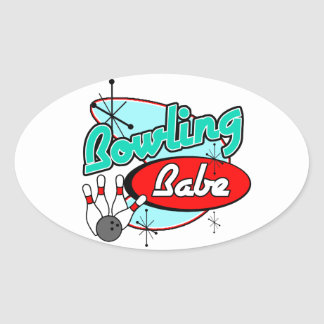 Bowling Babe Oval Sticker