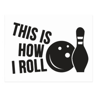 Bowling ball and pin. I love bowling. Postcard