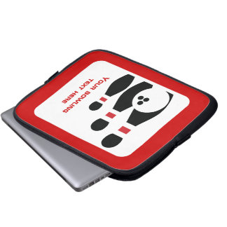 Bowling ball and pins black red custom computer sleeve
