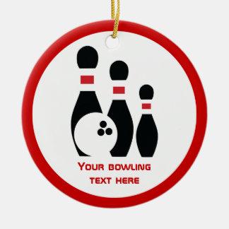 Bowling ball and pins black red custom christmas tree ornament