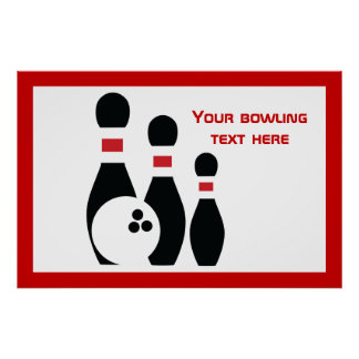 Bowling ball and pins black red custom poster