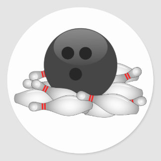 Bowling Ball And Pins Classic Round Sticker