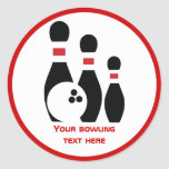Bowling ball and pins custom classic round sticker